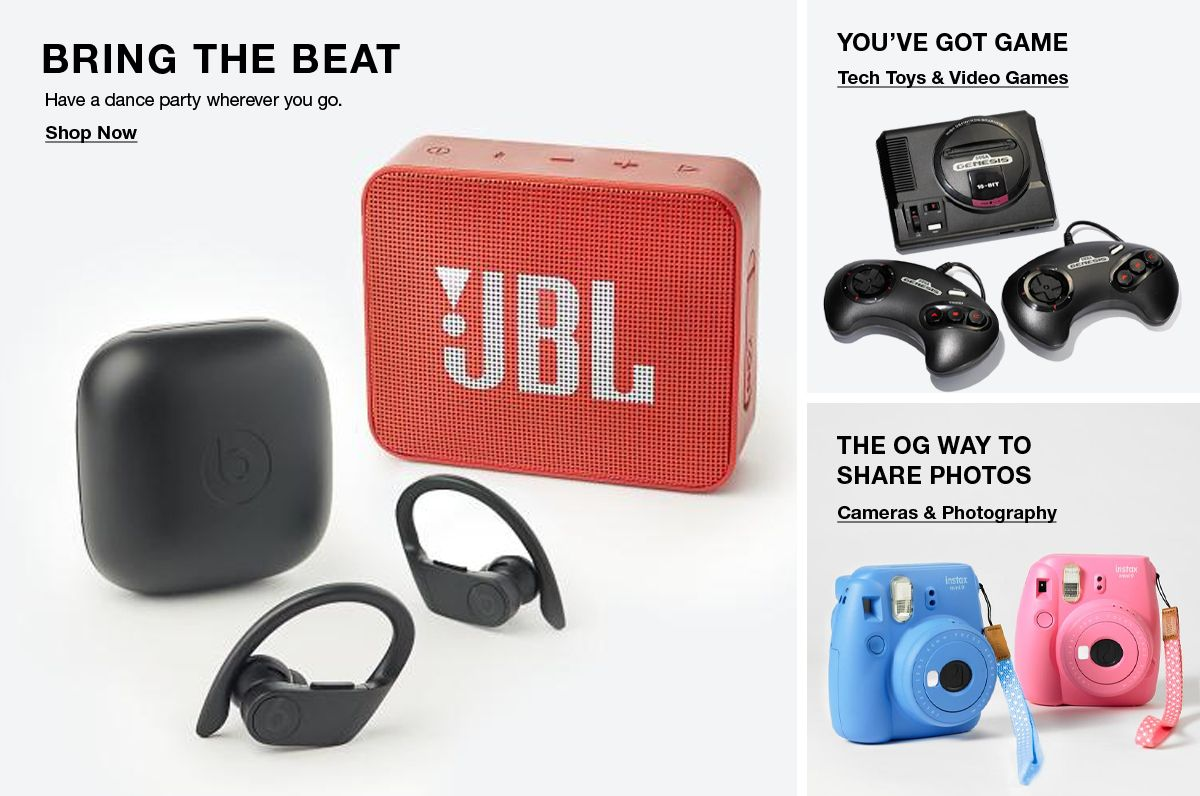 Bring The Beat, Have a dance party wherever you go, Shop Now, You've Got Game, Tech Toys and Video Games, The OG Way to Share Photos, Cameras and Photography