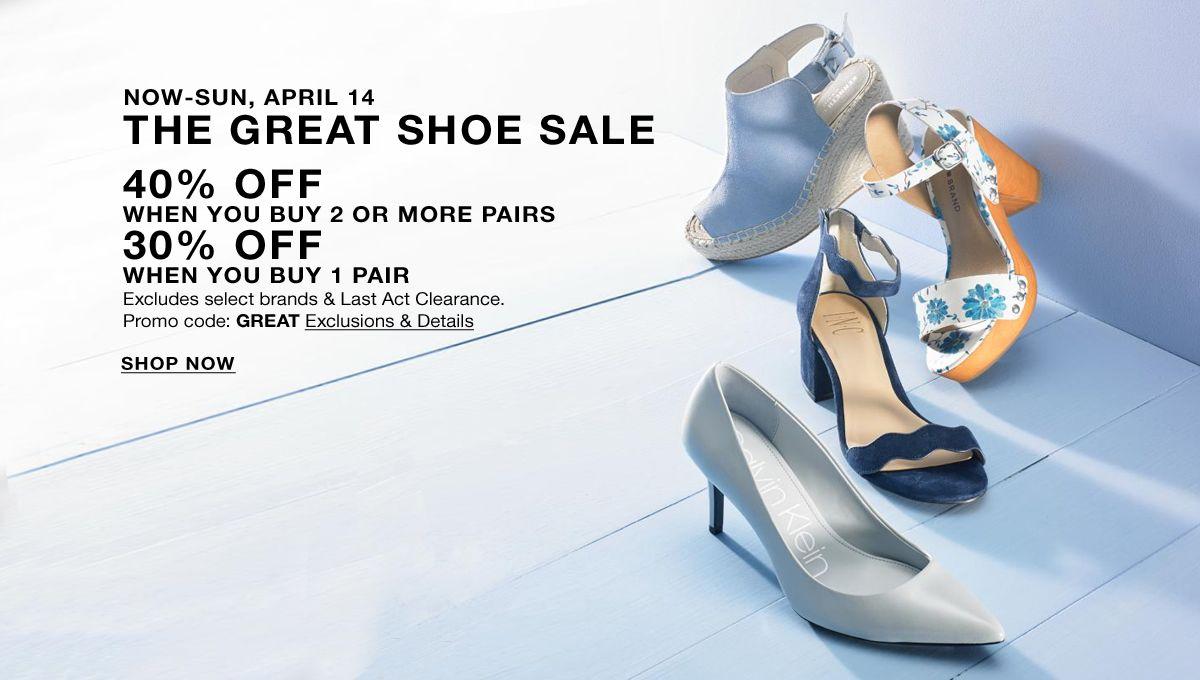 Now-Sun, April 14, The Great Shoe Sale, 40 percent Off,