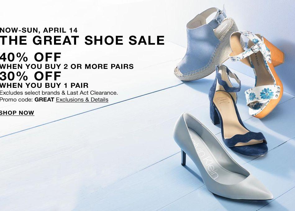 official photos 7412b 29977 Now-Sun, April 14, The Great Shoe Sale, 40 percent Off,
