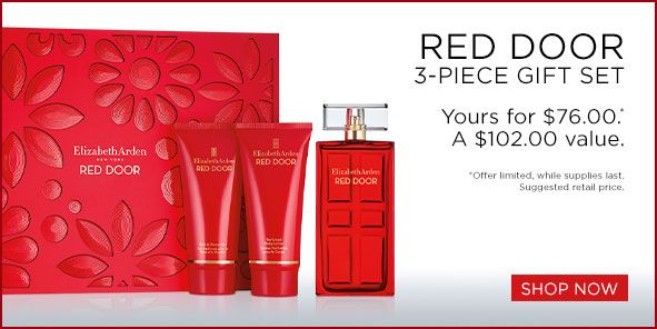 Red Door, 3-Piece Gift Set, Yours for $76.00, A $102.00 value, Offer limited, while supplies last, Suggested retail price, Shop Now