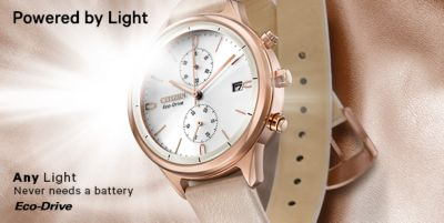 Powered by Light, Any Light Never needs a battery, Eco-Drive
