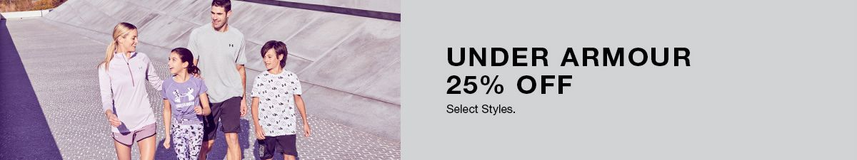 Under Armour 25 percent Off Select styles