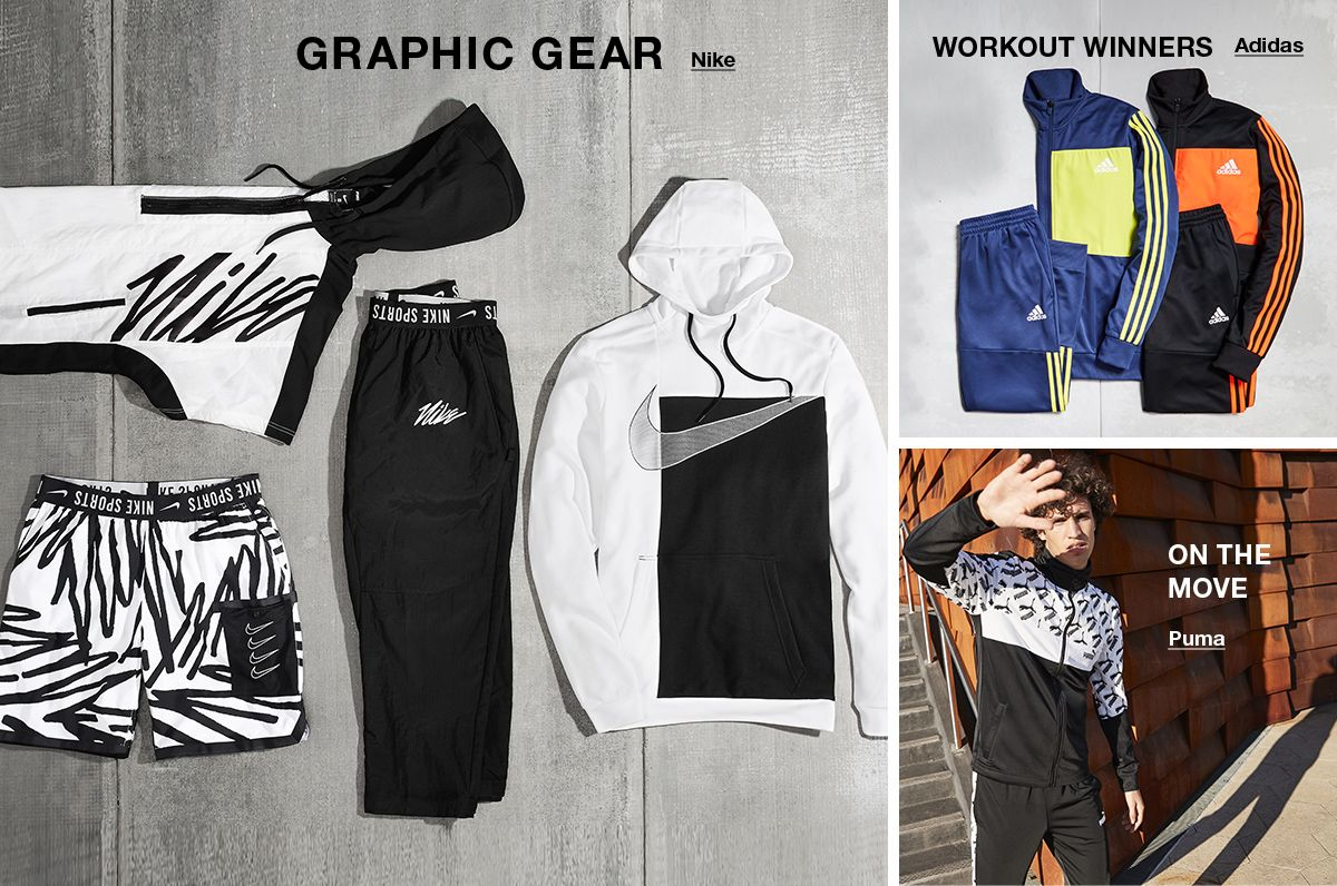 Graphic Gear, Nike, Workout Winners, Adidas, On the Move, Puma