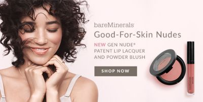 BareMinerals, Good For Skin Nudes, New Gen Nude Patent Lip Lacquer And Powder Blush, Shop Now