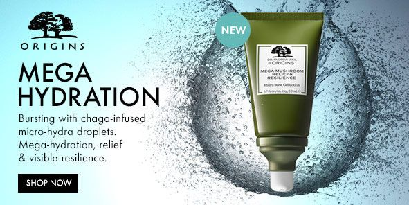 Origins, Mega Hydration, Bursting with chaga-infused micro-hydra droplets, Mega-hydration, relief and visible resilience, Shop