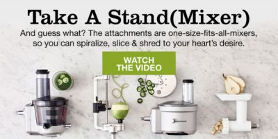 Take a Stand Mixer, and guess what? The attachments are one-size-fits-all-mixers, so you can spiralize, slice and shred to your heart's desire, Watch the Video