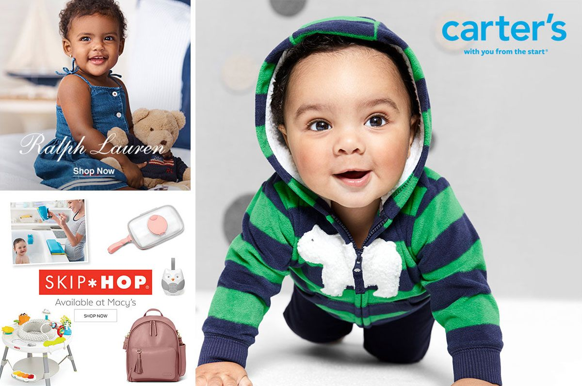 Ralph Lauren, Shop Now,, Skip, Hop, Available at Macy's, Shop Now, Carter's, with you from the start