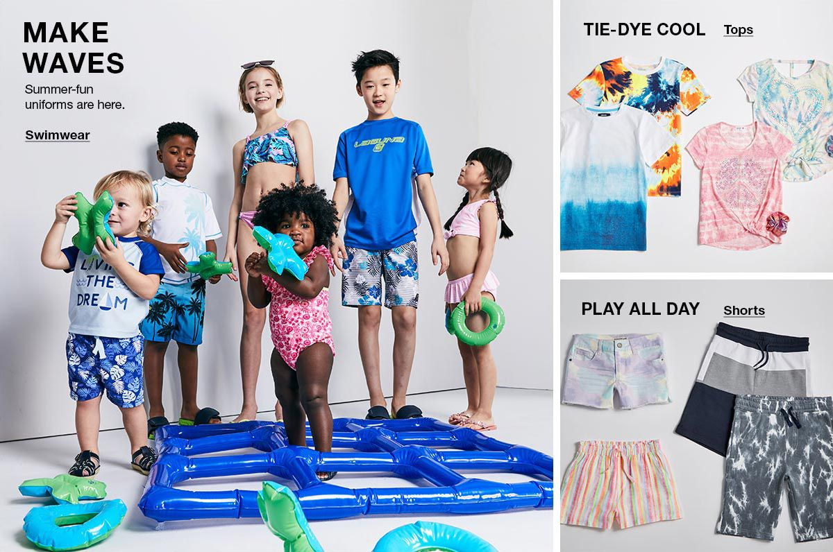 Make Waves, Swimwear, tie-Dye Cool, Tops, Play All Day, Shorts