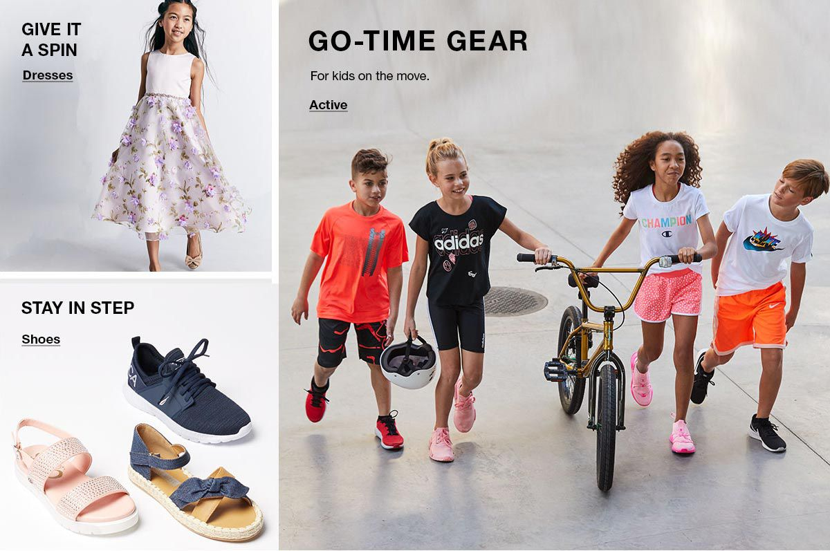 Give it a Spin, Dresses, Stay in Step, Shoes, go-Time Gear, Active