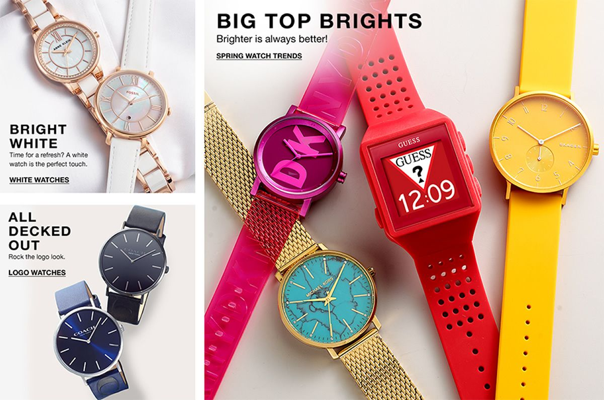 Bright White, Time for a refresh? A white watch is the perfect touch, White Watches,  All Decked Out, Rock the logo look, Logo Watches, Big Top Brights, Brighter is always better! Spring Watch Trends