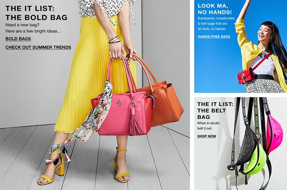 The IT List: The Bold Bag, Bold Bags, Check out Summer Trends, Look Ma, No Hands, Hands-Free Bags, The IT List: The Belt Bag, Shop Now