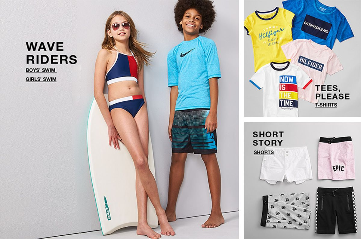 Wave Riders, Boys' Swim, Girls' Swim, Tees Please, T-Shirts, Short Story, Shorts