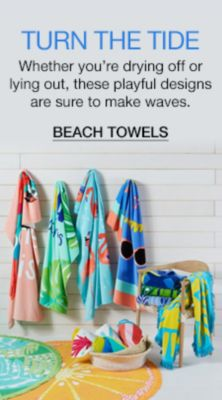 Turn The Tide, Whether you8're drying off or lying out, these playful designs are sure to make waves, Beach Towels