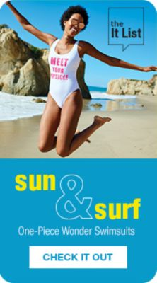The it List, sun and surf, One-Piece Wonder Swimsuits, Check it Out