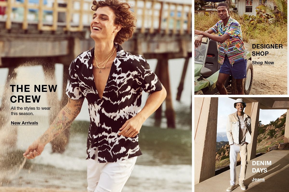 The New Crew, New Arrivals, Designer Shop, Shop Now, Denim Days, Jeans