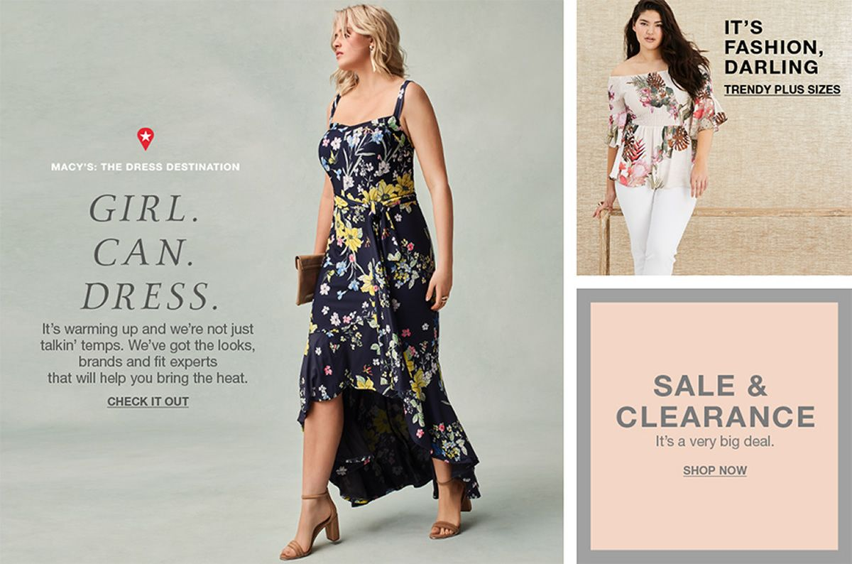 Macy's: The Dress Destinaton, Girl, Can, Dress, It's warming up and we're not just talkin' temps,. We've got the looks, brands and fit experts that will help you bring the heat, Check it Out, It's Fashion, Darling, Trendy Plus Sizes, Sale and Clearance