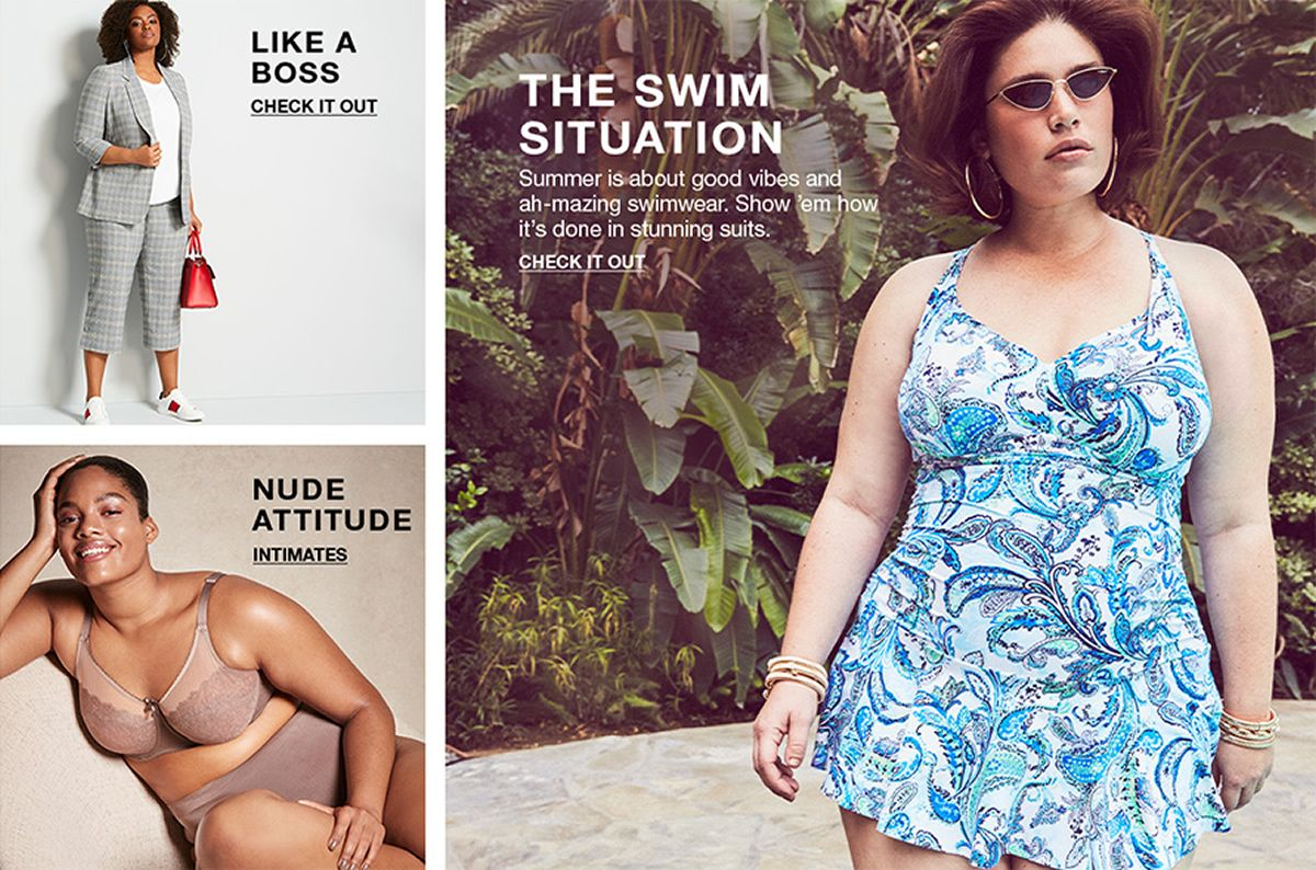 Like a Boss, Check it Out, Nude Attitude, Intimates, The Swim Situation, Summer is about good vibes and ah-mazing swimwear, Show 'em how it's done in stunning suits, Check it Out