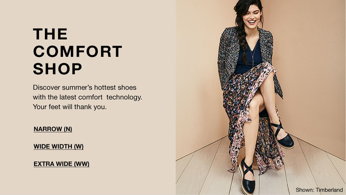 The Comfort Shop, Discovery Summer's Hottest Shoes with the latest comfort technology, Your feet will think you, Narrrow(N), Wide Width(W), Extra Wide(WW)