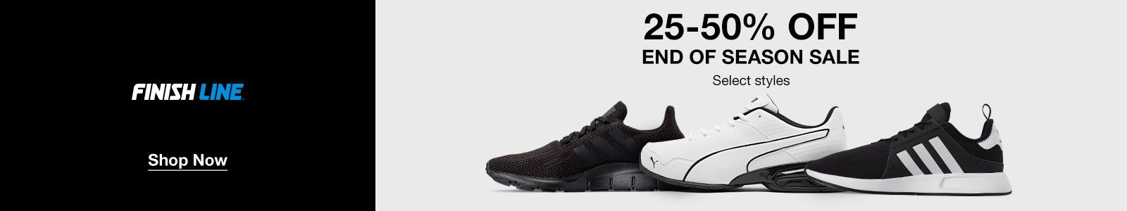 Finish Line, Shop Now, 25-50% off, End of Season Sale, Select styles