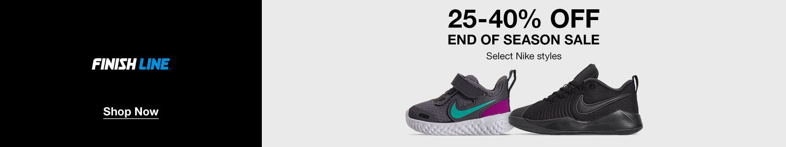 Finish Line, Shop Now, 25-40% off, End of Season Sale, Select Nike styles