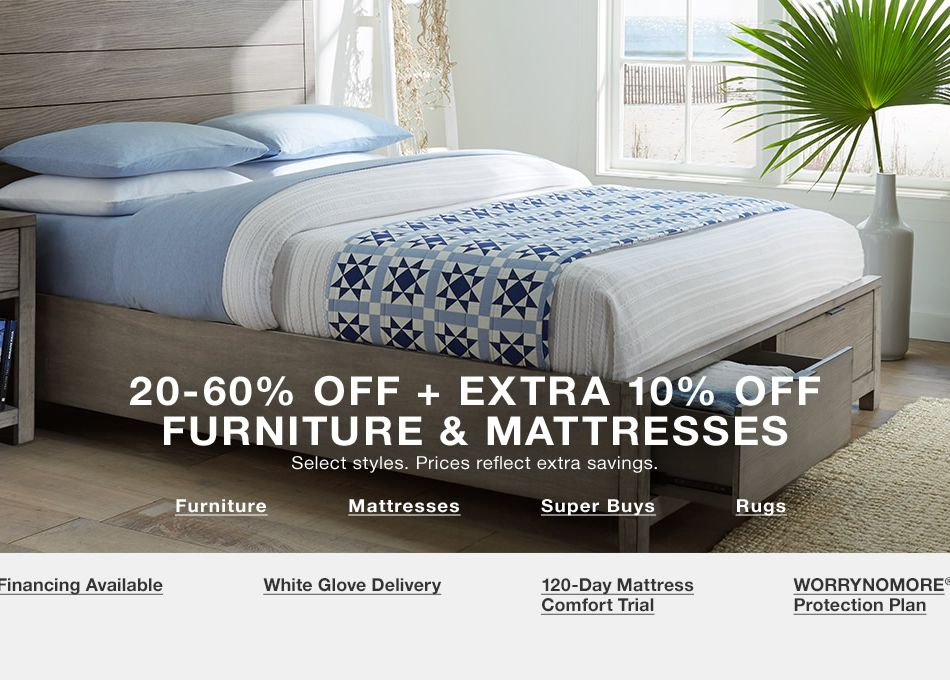 reputable site 7d7b1 bf6cc 20-60 percent off + Extra 10 percent off, Furniture, Mattresses, Super