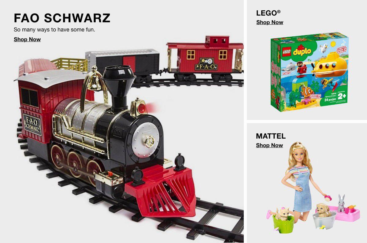 Fao Schwarz, Shop Now, Lego, Shop Now, Mattel, Shop Now