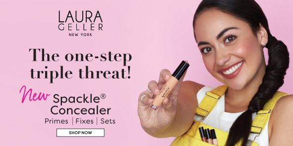 Laura Geller, New York, The one-step triple threat! New Spackle Concealer, Primes, Fixes, Sets, Shop Now