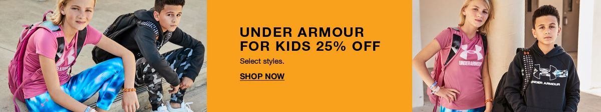 Under Armour For Kids 25 percent Off, Select  style, Shop Now