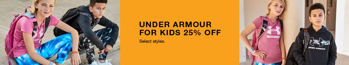 Under Armour For Kids 25 percent off, Select style