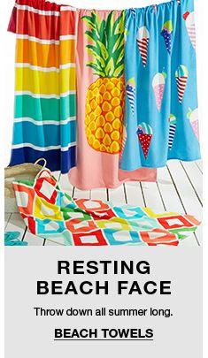 Resting Beach Face, Throw Down All Summer Long, Beach Towels