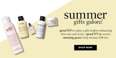 Summer gifts galore! Spend $35 to enjoy a gift of glow-enhancing skin care and scent + spend $75 to receive amazing grace body mousse full-size, Shop now