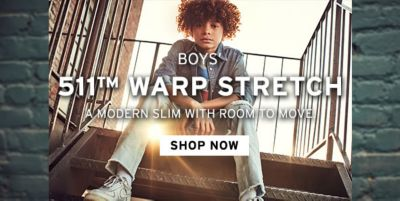 Boys 511tm Warp Strech, a mordern Slim With Room to Move, Shop Now