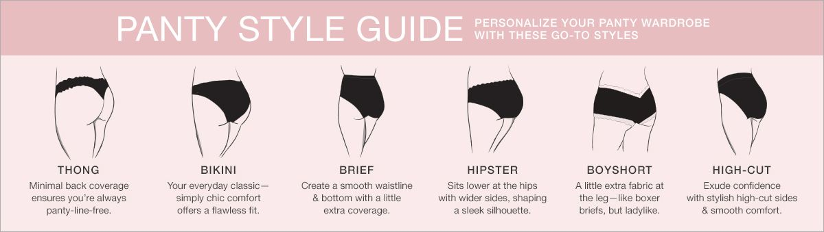 Panty Style Guide, Personalize Your Panty Wardrobe with These go-to Styles, Bikini, Brief, Hipster, Boyshort, High-Cut