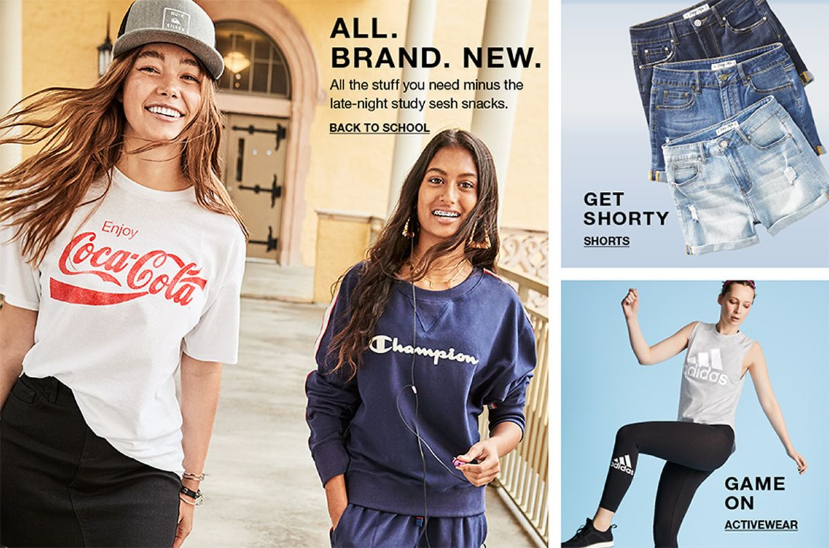 All Brand New, All the stuff you need minus the late-night study sesh snacks, Back to School, Get Shorty, Shorts, Game on, Activewear