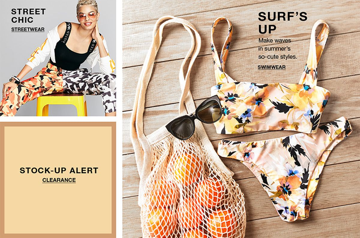 Street Chic, Streetwear, Stock-up Alert, Clearance, Surf's up, Make waves in summer's so-cute styles, Swimwear