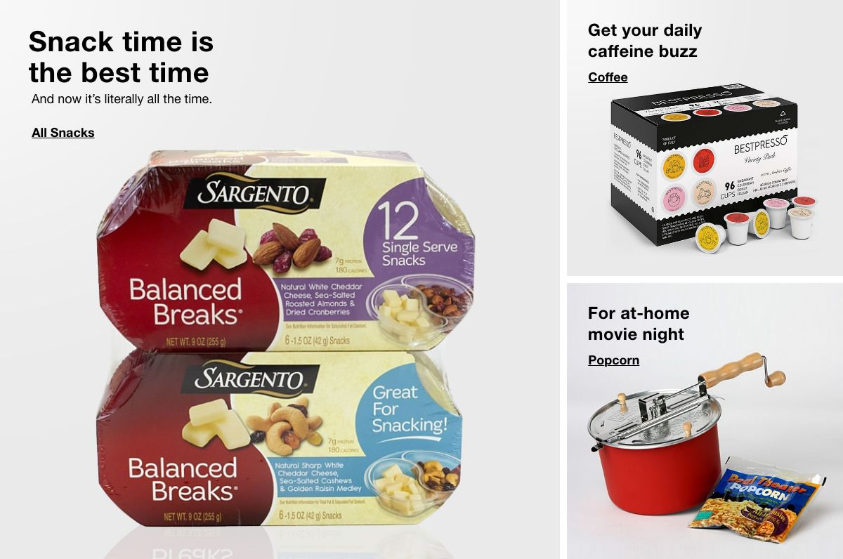 Snack time is the best time, All Snacks, Get your daily caffeine buzz, Coffee, For at-home movie night, Popcorn