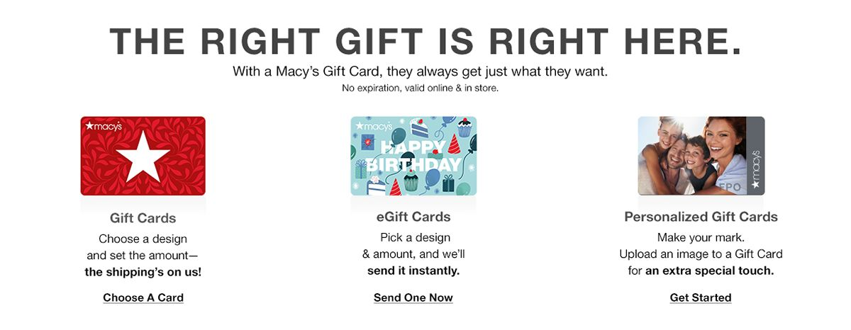 The Right Gift is Here is Right here, Gift Cards, egift cards, Personalized Gift Cards, Choose a card , Send One Now, get Started