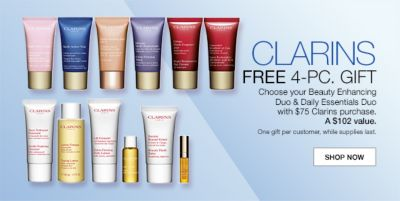Clarins, Free 4-Piece, Gift, Choose your Beauty Enhancing Duo and Daily Essentials Duo with $75 Clarins purchase, a $102 value, One gift per customer, while supplies last, Shop Now