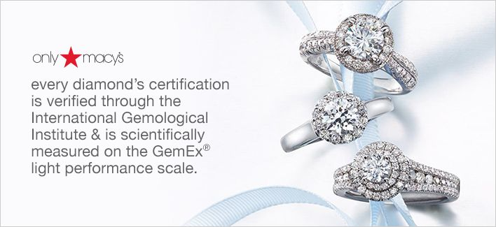 Only Macy's, every diamond's certification is verified through the International Gemological Institute and is scientifically measured on the Gemex light performance scale