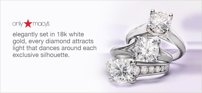 Only Macy's, elegantly set in 18k white gold, every diamond attracts light that dances around each exclusive silhouette