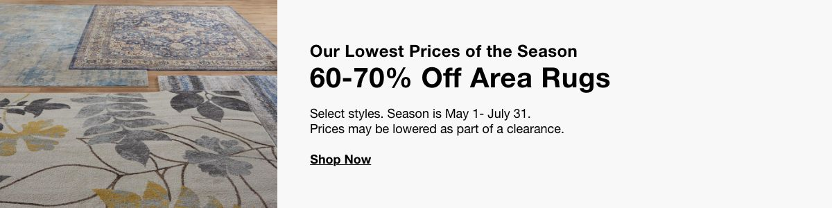 Our Lowest Prices of the season, 60-70% Off Area Rugs