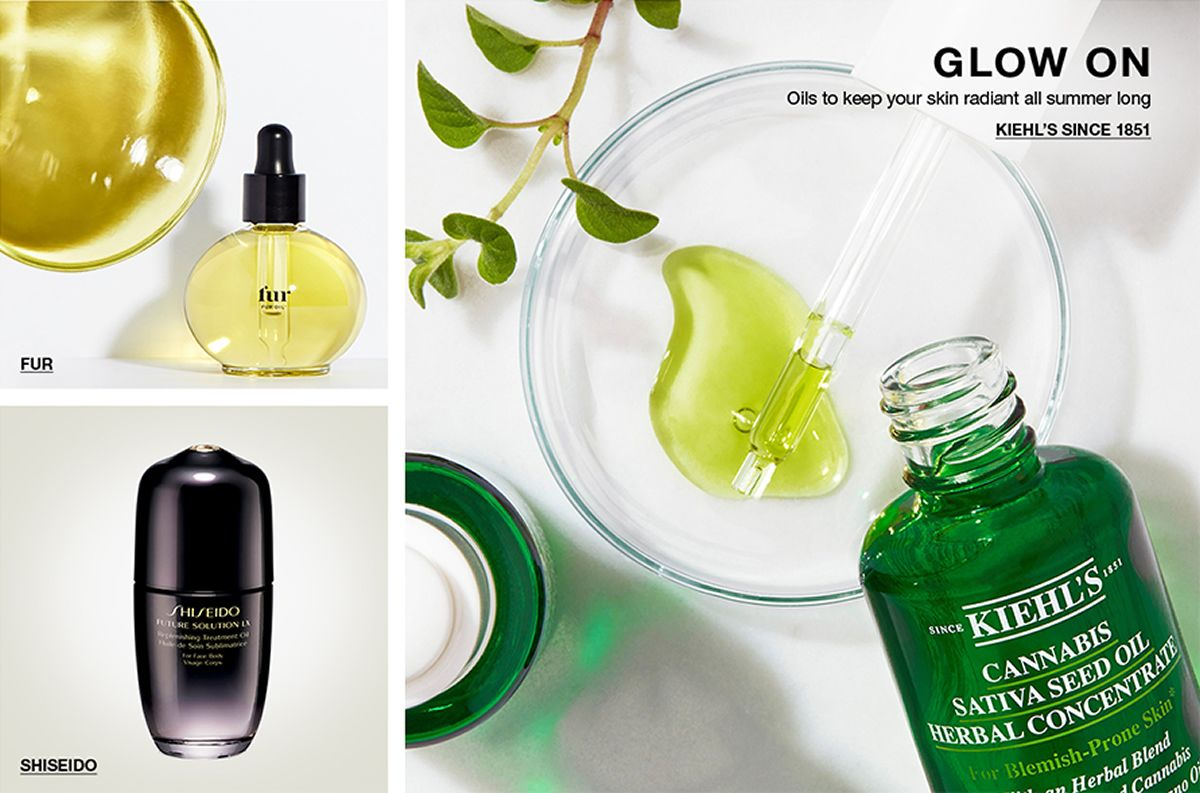 Fur, Shiseido, Glow On, Oils to keep your skin radiant all summer long, Kiehl's since 1851