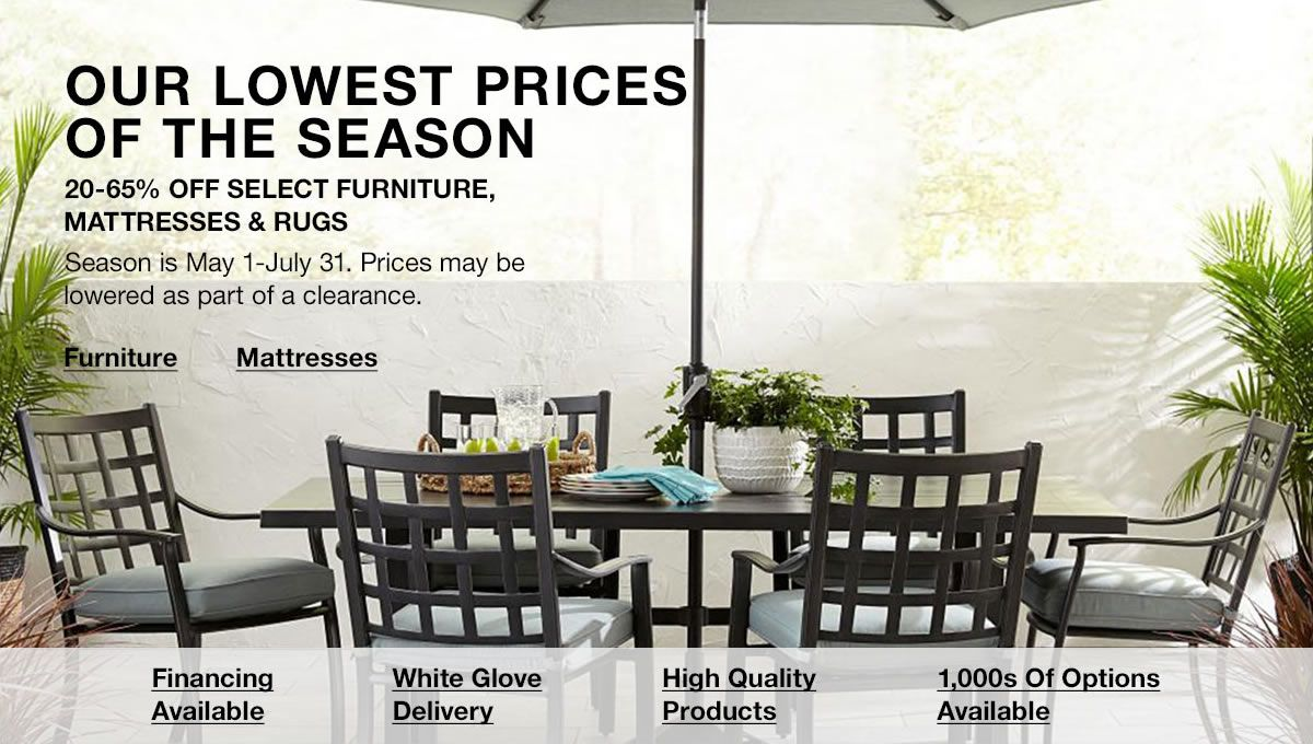 58697dda5 Our Lowest Prices of the Season, 20-65 percent off Select Furniture  Mattresses and