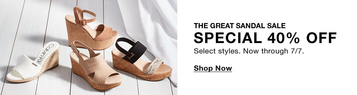 The Great Sandal Sale, Special 40 percent off, Select styles, Now through 7/7, Shop Now