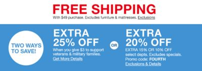 Free Shipping, With $49 Purchase, Excludes Furniture And Mattresses,  Exclusions, Two Ways