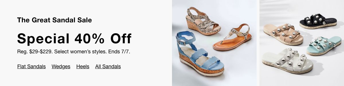 The Great Sandal Sale, Special 40 % Off, Flat Sandals, Wedges, Heels, All Sandals