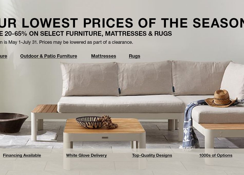 Our Lowest Prices Of The Season Save 20 65 Percent On Select Furniture