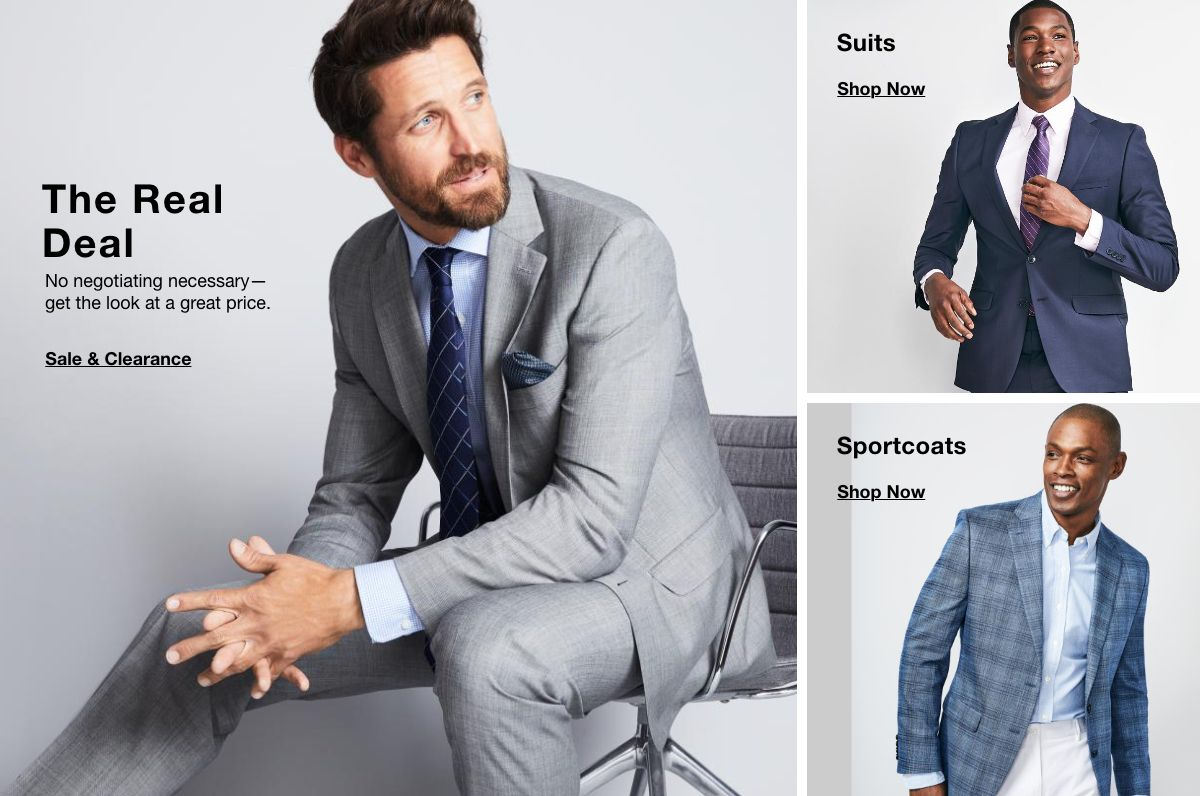 The Real, Sale and Clearance, Suits, Shop Now, Sportcoats, Shop Now