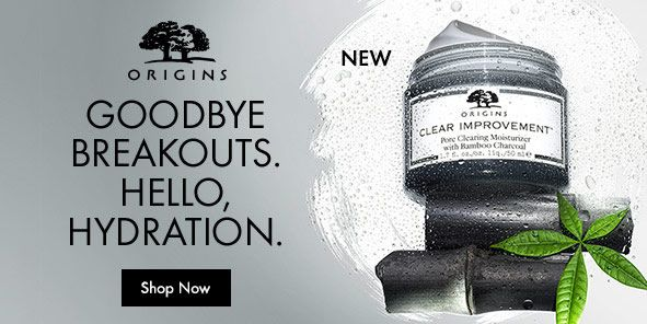 New, Origins, Goodbye Breakouts, Hello, Hydration, Shop Now