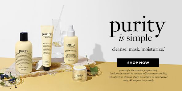 Purity is simple, clean, mask, moisturize, Shop Now